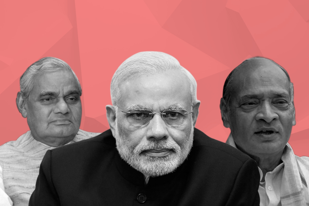 From left to right, late former Prime Minister Atal Bihari Vajpayee, serving Prime Minister Narendra Modi, and late former Prime Minister P V Narasimha Rao
