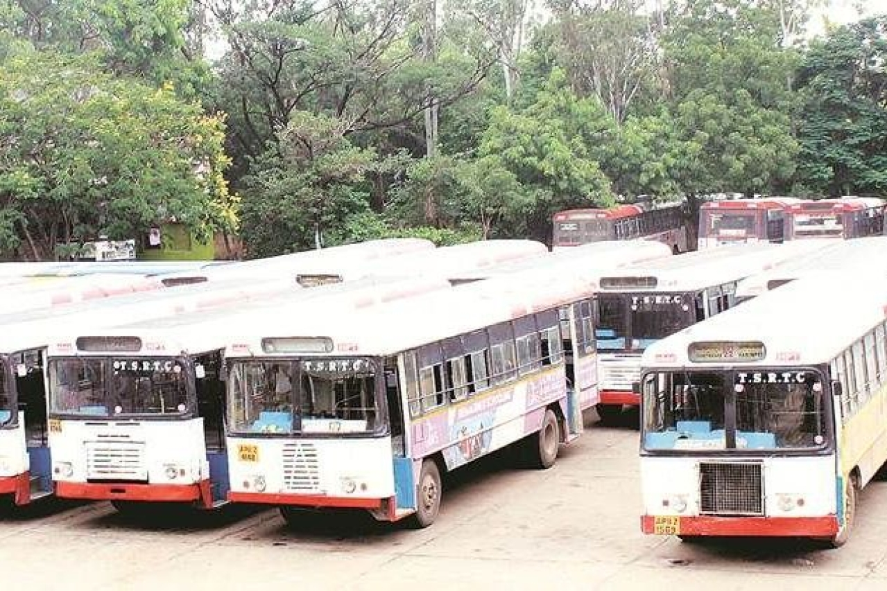 TSRTC buses lined up at the depot during the strike.