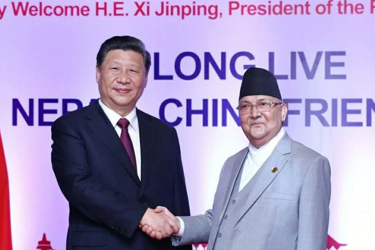 Chinese President Xi Jinping and Nepal Prime Minister K P Sharma Oli