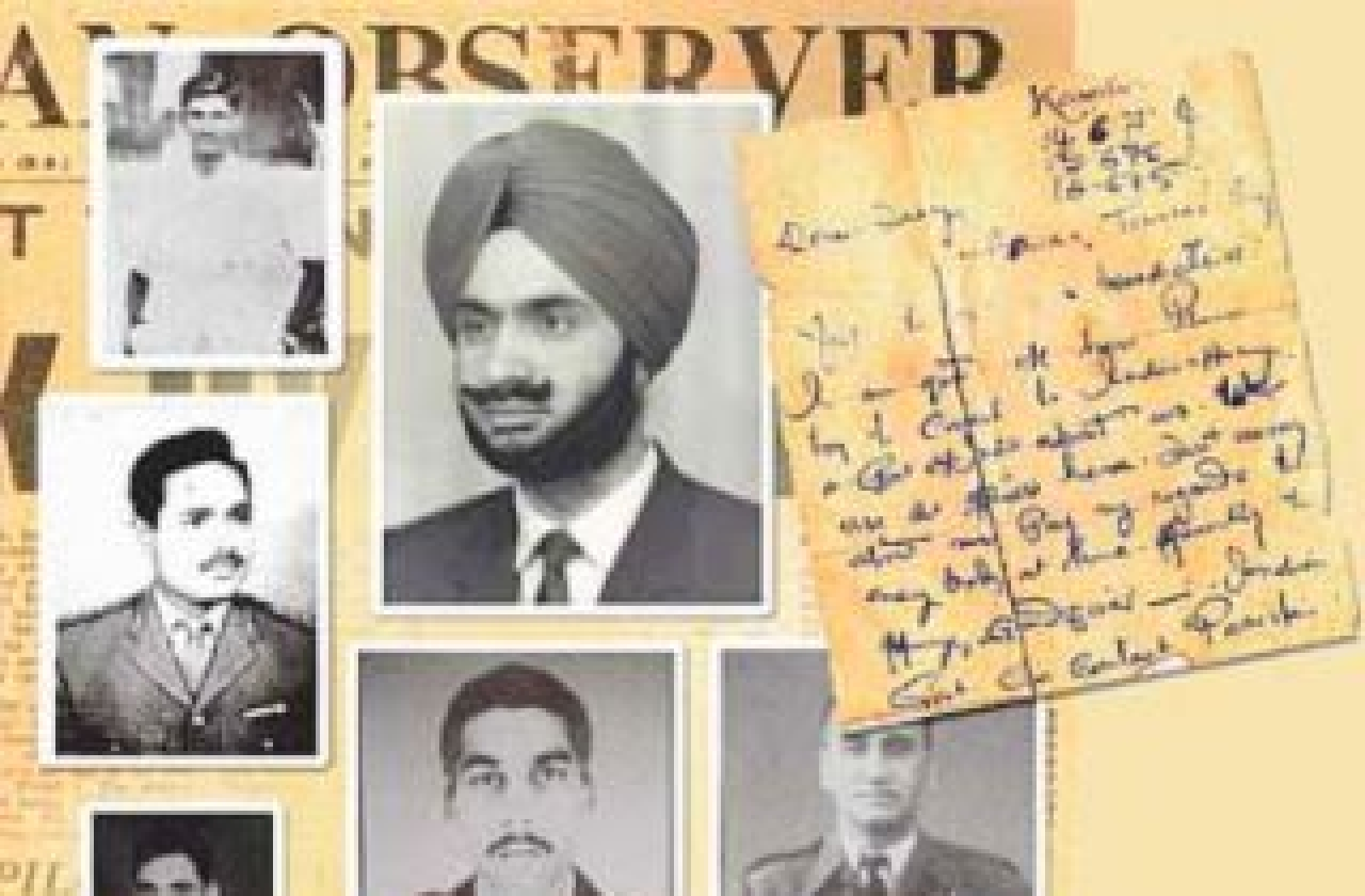 Photos of some of the missing POWs and the letter written by Maj Ashok Suri. (Source: Facebook @TheMissing54Indians)