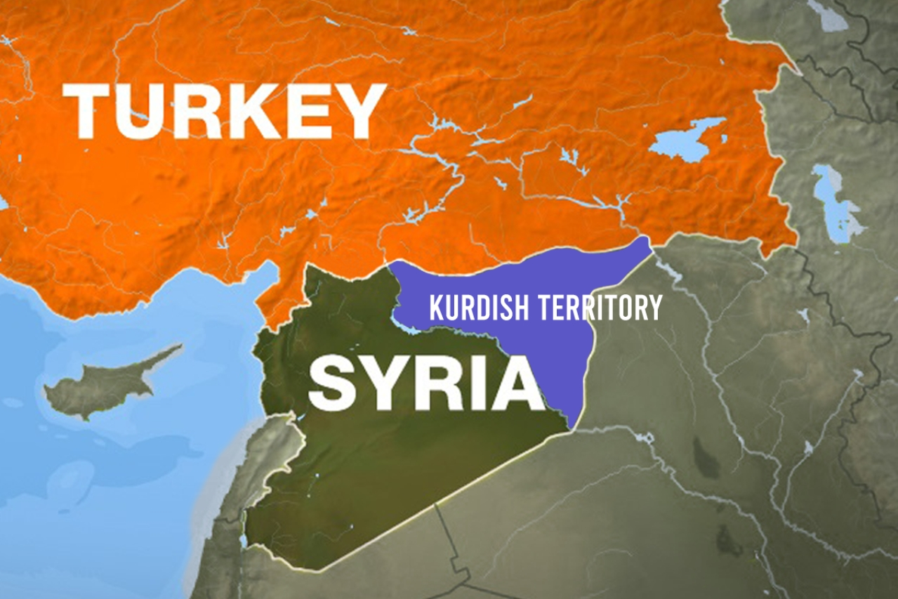 A map of the region showing the territory controlled by the Kurds.