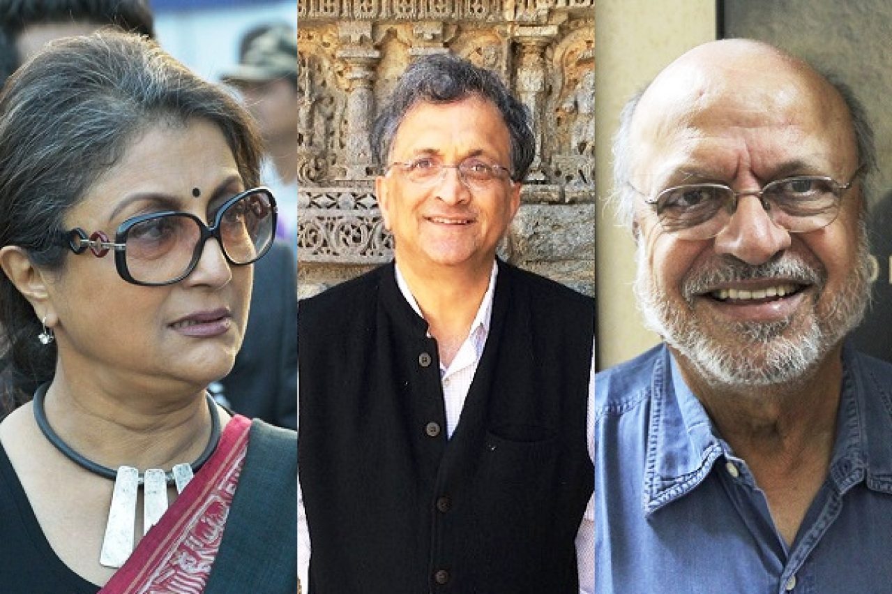 Aparna Sen - left, Ram Guha - centre, Shyam Benegal - right