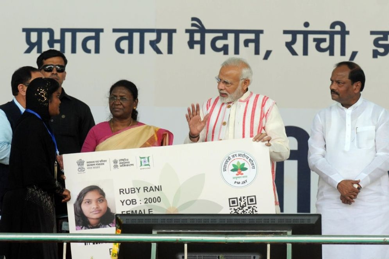 Prime Minister Narendra Modi at the launch of Ayushman Bharat. (Parwaz Khan/Hindustan Times via Getty Images)