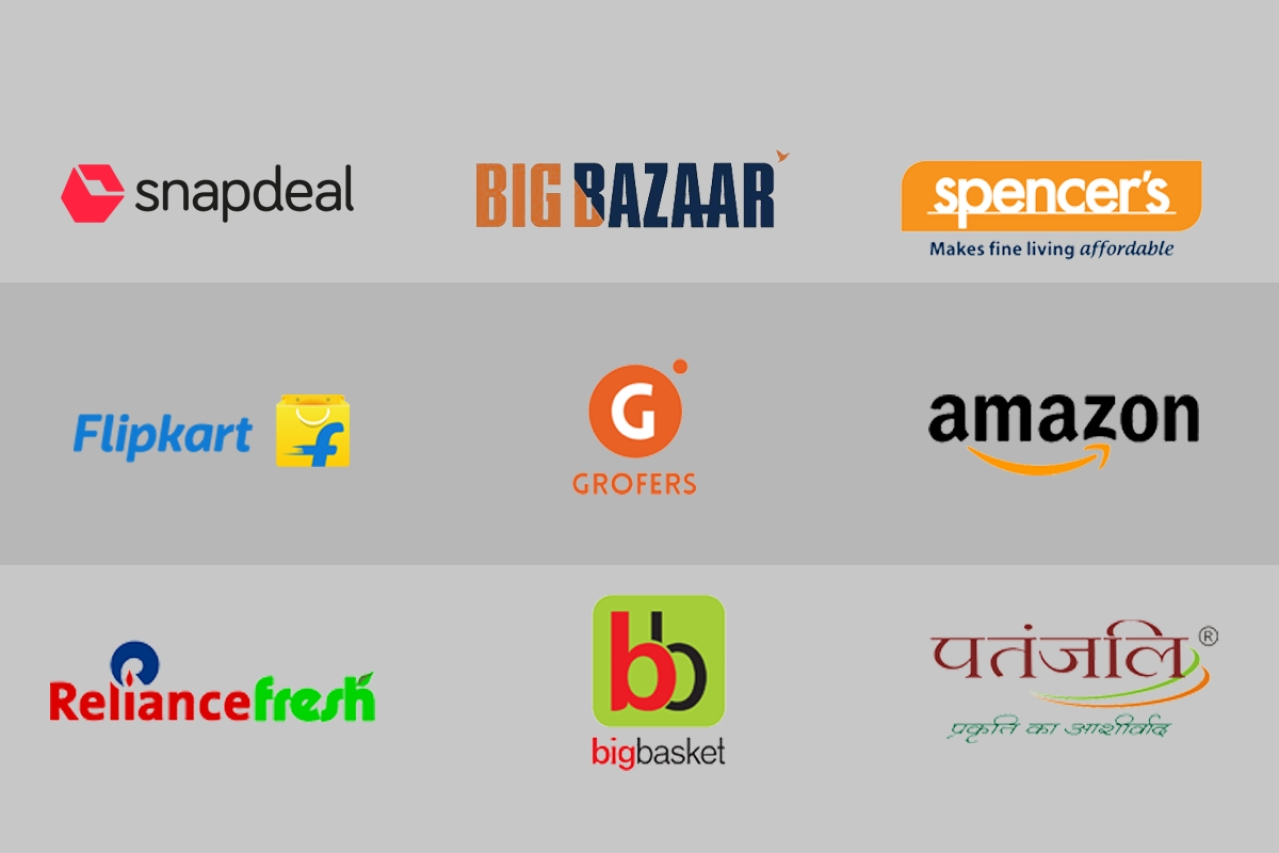 Logos of various online retailers in India.