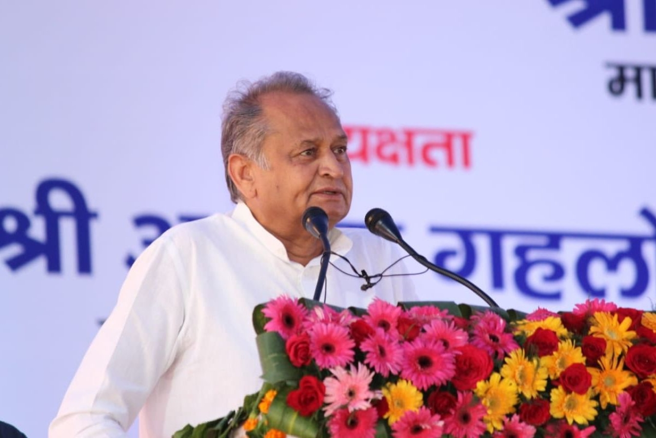Rajasthan Chief Minister Ashok Gehlot speaking at a rally.