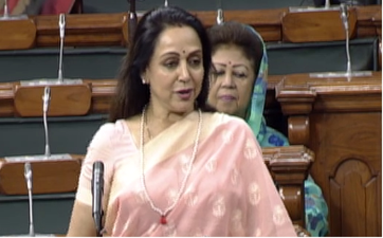 Hemal Malini, Mathura's MP raising the issue of monkey menace in the Parliament.