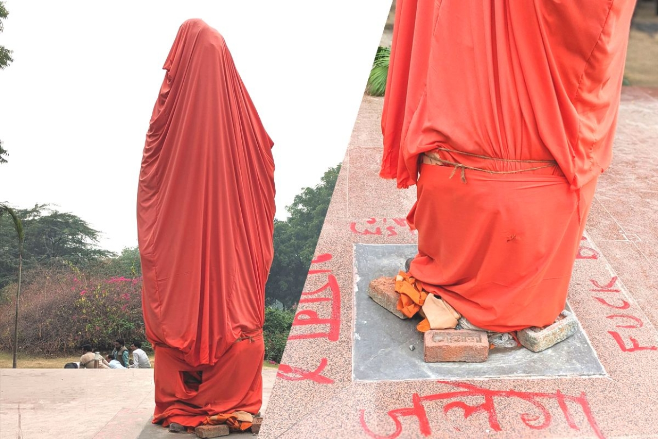 The statue of Vivekananda in JNU. (Pic via Twitter)
