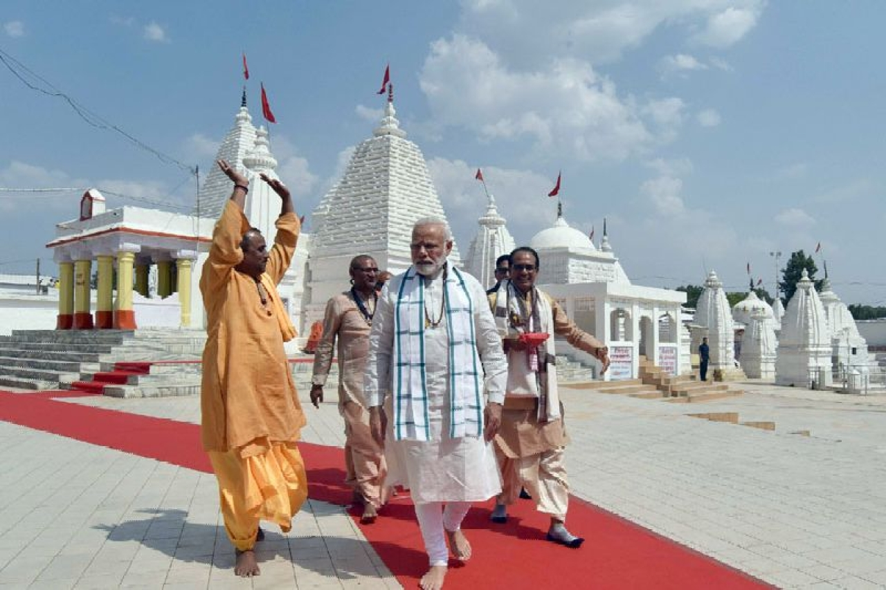 Prime Minister Narendra Modi at the Narmada temple in Amarkantak, Madhya Pradesh, May 2017 (PMO)