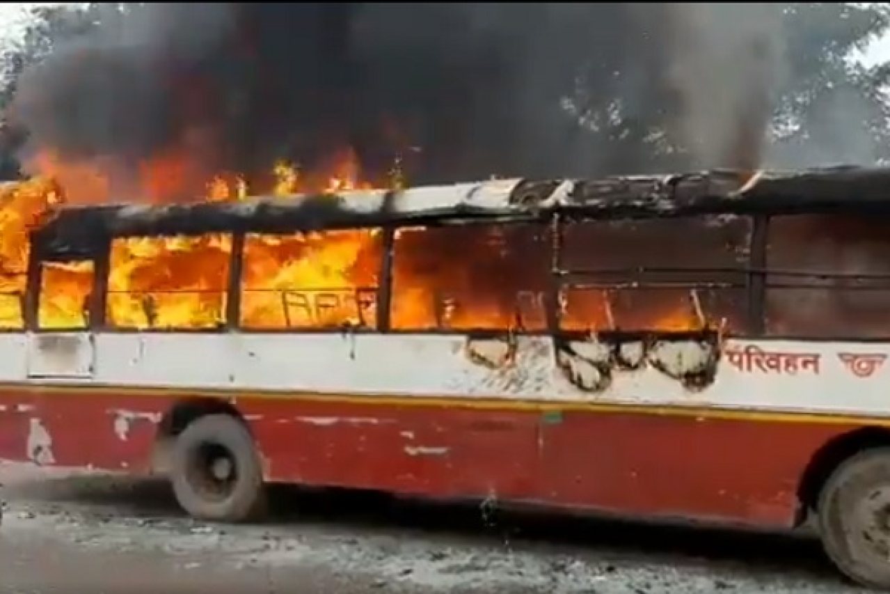 UP: Anti-CAA Protesters Turn Violent In Various Cities, Burn A Roadways Bus In Sambhal District