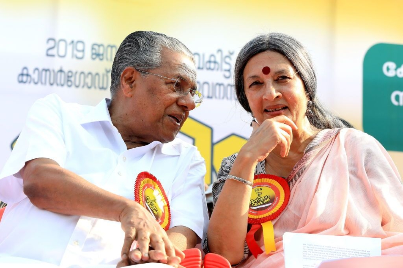 Kerala Chief Minister Pinarayi Vijayan and Communist Polit Bureau member Brinda Karat. (Photo by Vivek R Nair/Hindustan Times via Getty Images)