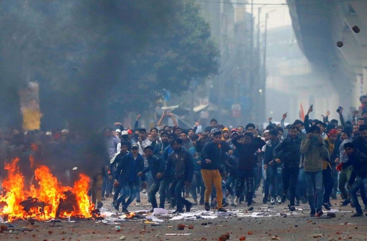 Representative Image -- A still from the anti CAB protests turning violent in Seelampur Delhi (Source: Twitter)