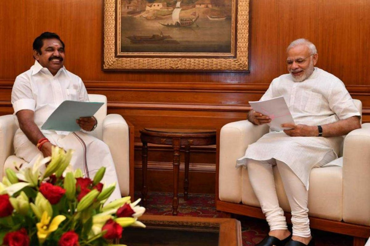 Prime Minister Narendra Modi with Tamil Nadu Chief Minister E Palanisamy.