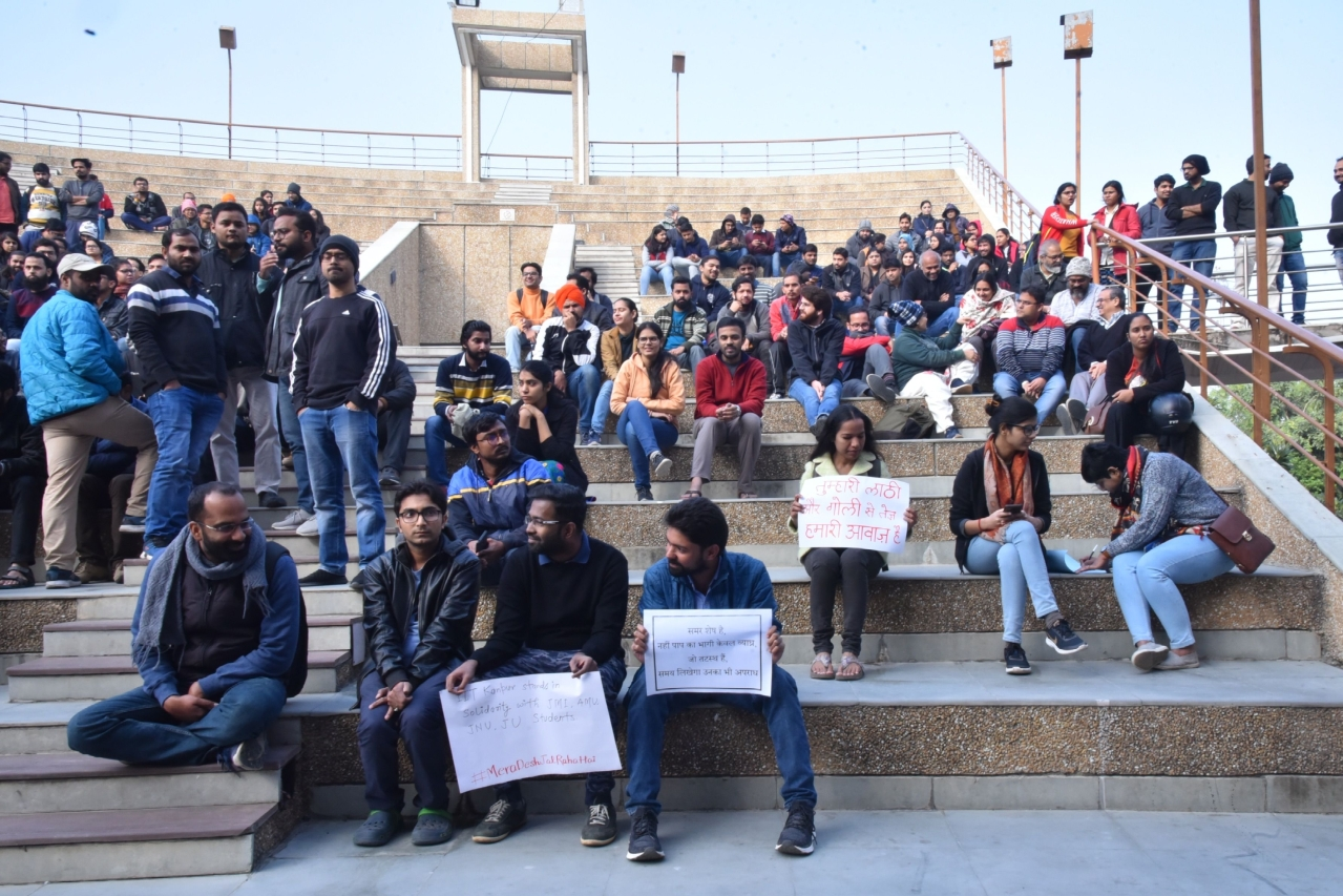 A photograph of the 'solidarity with Jamia students' event held in IIT Kanpur on 17 December