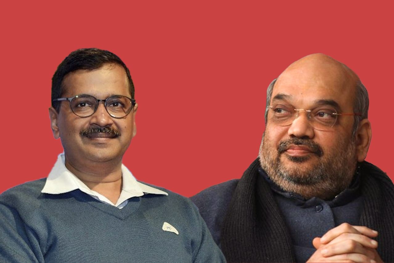 Delhi Chief Minister Arvind Kejriwal (left) and Home Minister of India Amit Shah.