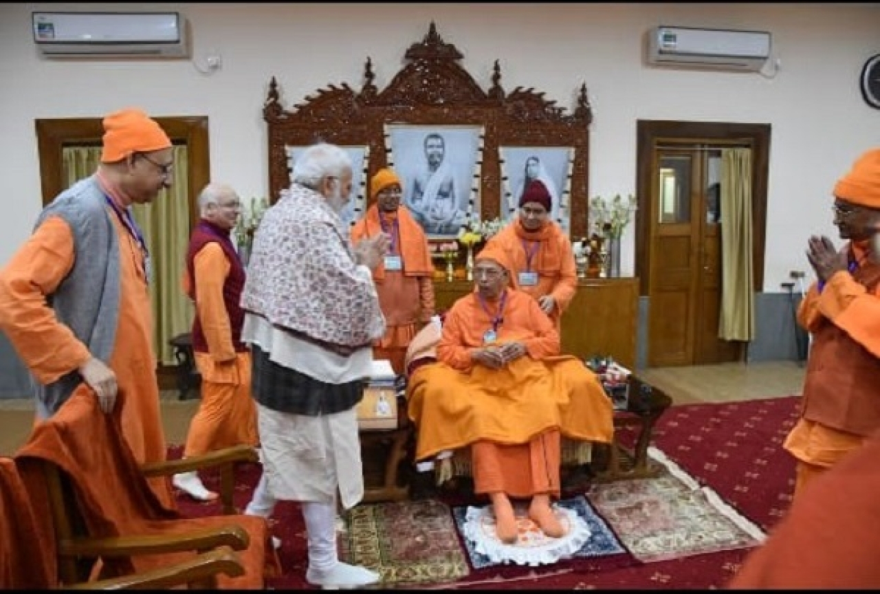 PM Modi greets Swami Smaranananda, president of the Ramakrishna Mission, at Belur.