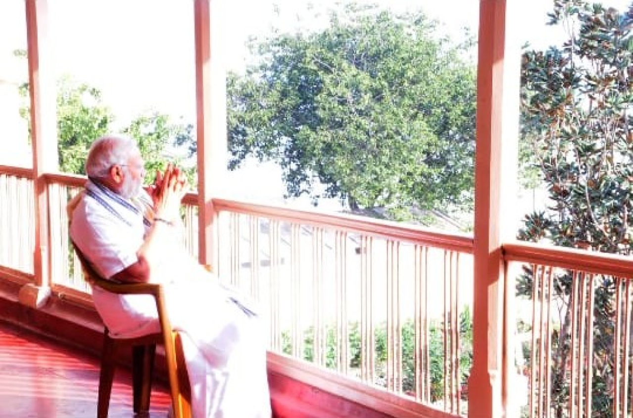 PM Modi in a moment of contemplation during his stay at the Math.