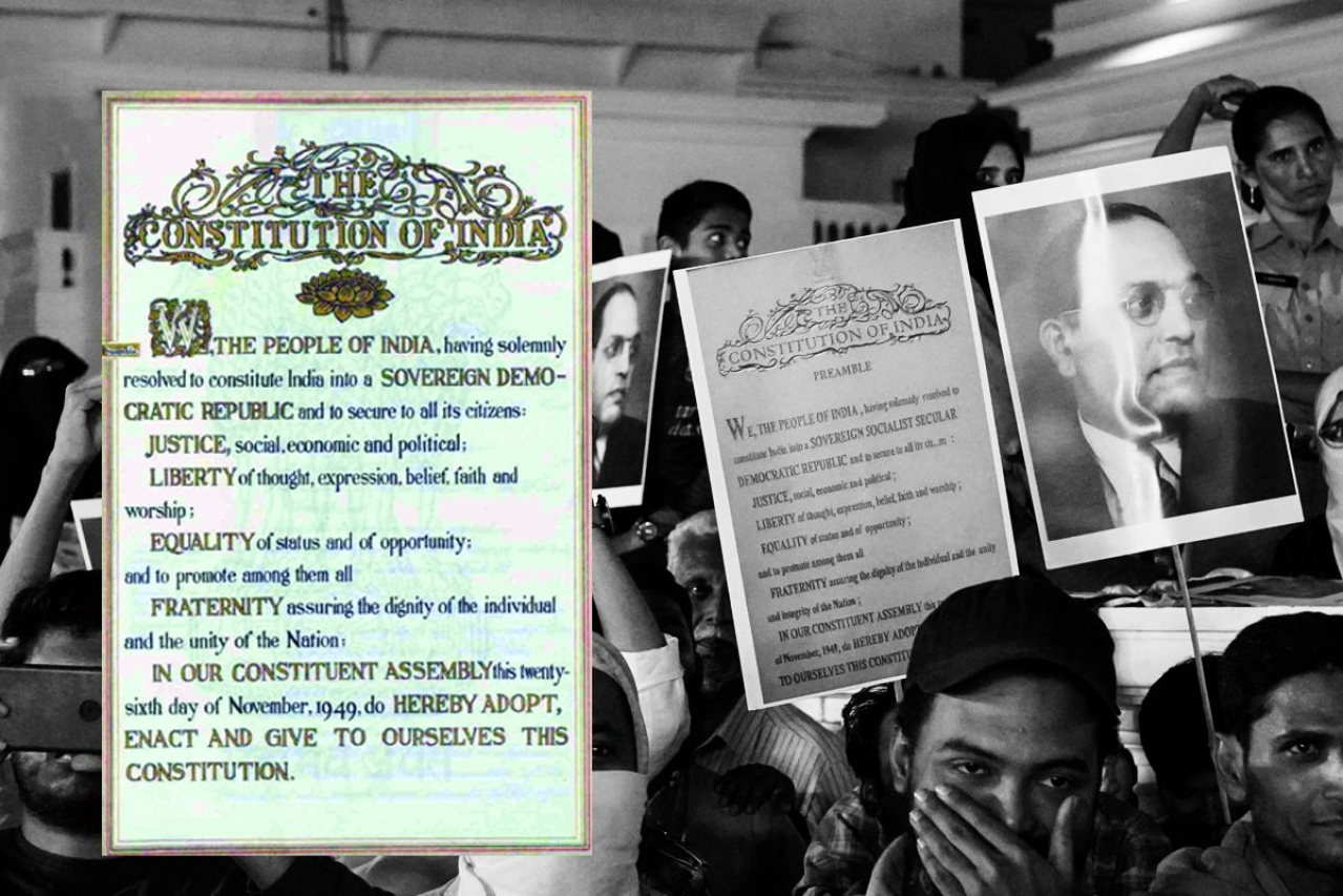 Congress president Sonia Gandhi reading the Preamble of the Constitution at a rally.