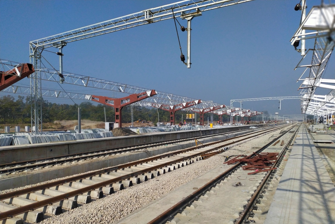 Construction work on a railway station in progress.