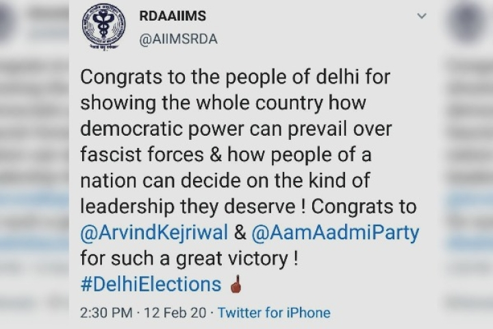 Doctors' Body Of AIIMS Delhi In Soup For 'Political' Post From Its Twitter Handle After Delhi Poll Results