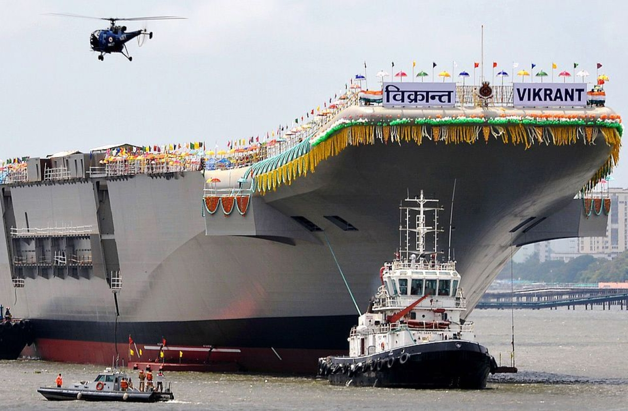 Representative Image/INS Vikrant as it leaves the Cochin Shipyard (Manjunath Kiran/AFP/Getty Images)