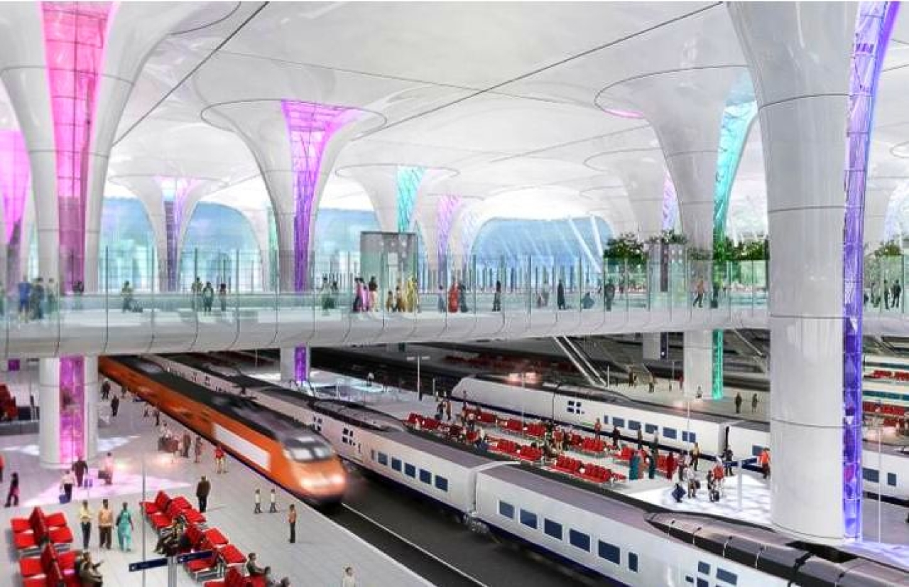 Blueprint for the New Delhi Railway Station with 3-proposed levels.