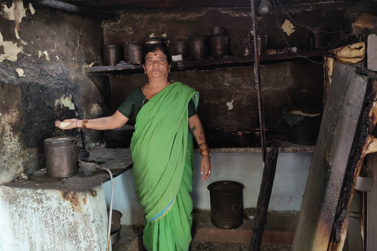 Radhabai in her house that was completely gutted on the night of 12 January