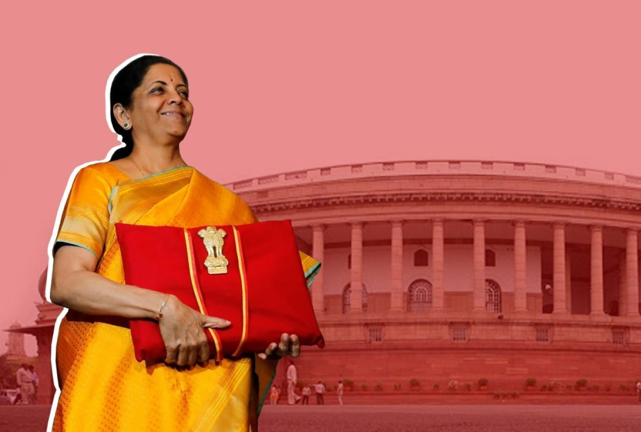 Finance Minister Nirmala Sitharaman outside Parliament before presenting the Union budget.