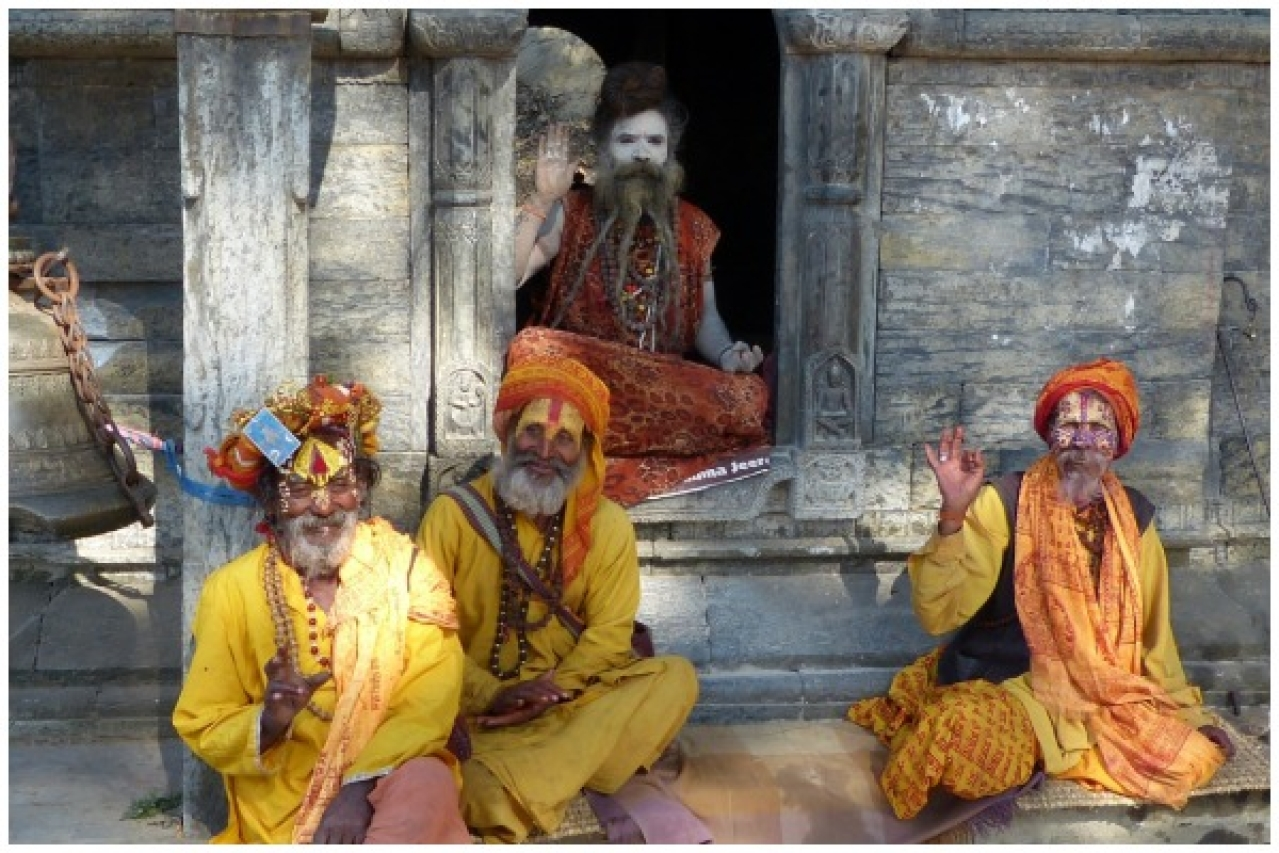 Sadhus at a temple.