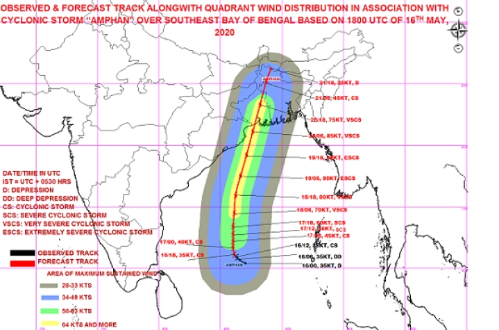 Cyclone Amphan Intensifies In Bay Of Bengal; IMD Issues Alert For West Bengal, Bangladesh Coasts