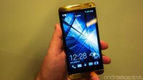 Gold HTC One on display tonight at Harvey Nichols in London