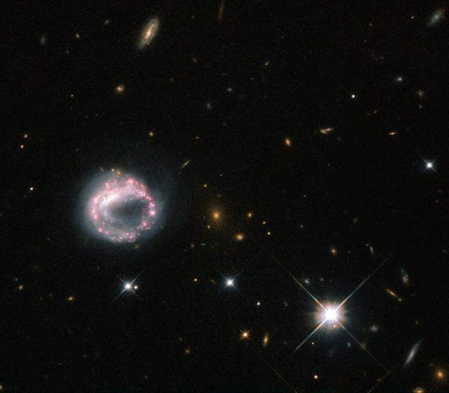 NASA's Hubble Space Telescope captures a cosmic ring galaxy