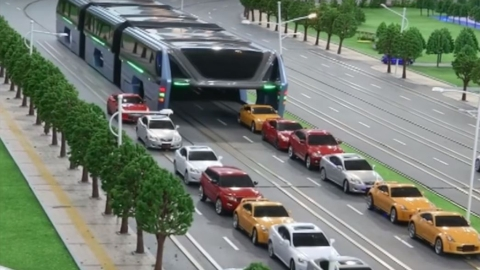 China's Traffic Sollution, a Car Eating Bus?