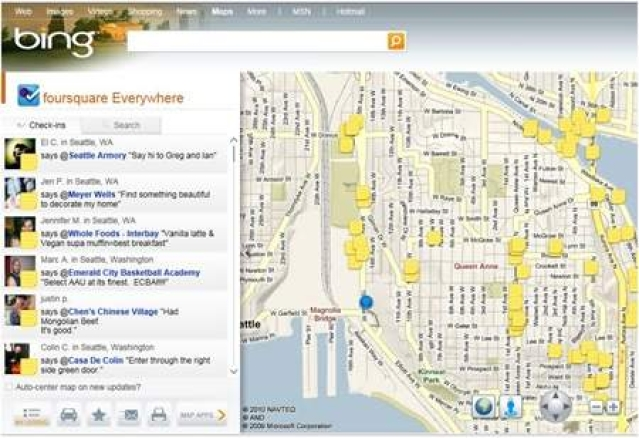 Microsoft revamps Bing with interactive Foursquare map
