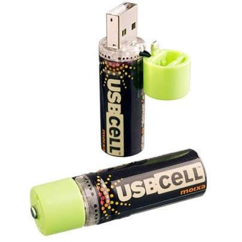 Use the USB port to charge AA batteries