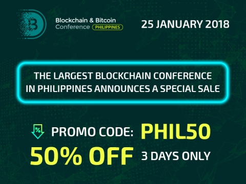 50% discount on Blockchain & Bitcoin Conference Philippines: Only three days – 15, 16 and 17 of January