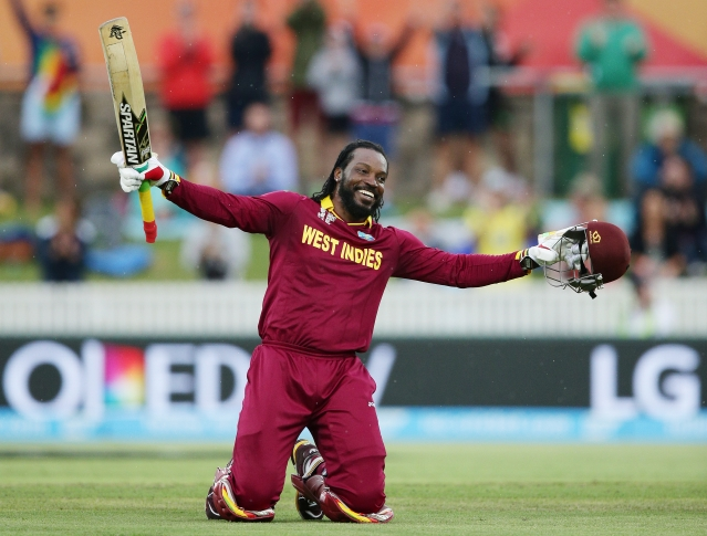 File photo of Chris Gayle celebrating  his first double century. (Photo: AP)
