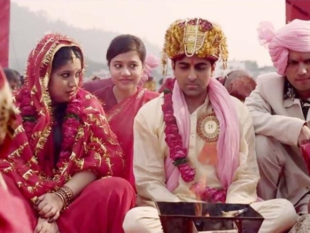 Bhumi Pednekar and Ayushmann Khurana in Yash Raj Films'<i>Dum Laga Ke Haisha.</i>