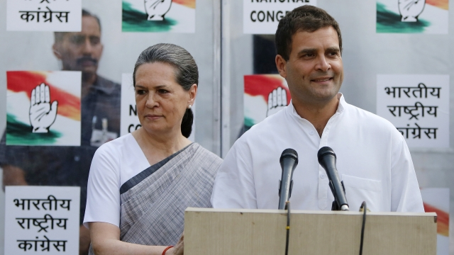 Sonia Gandhi with her son and Congress Vice President Rahul Gandhi.