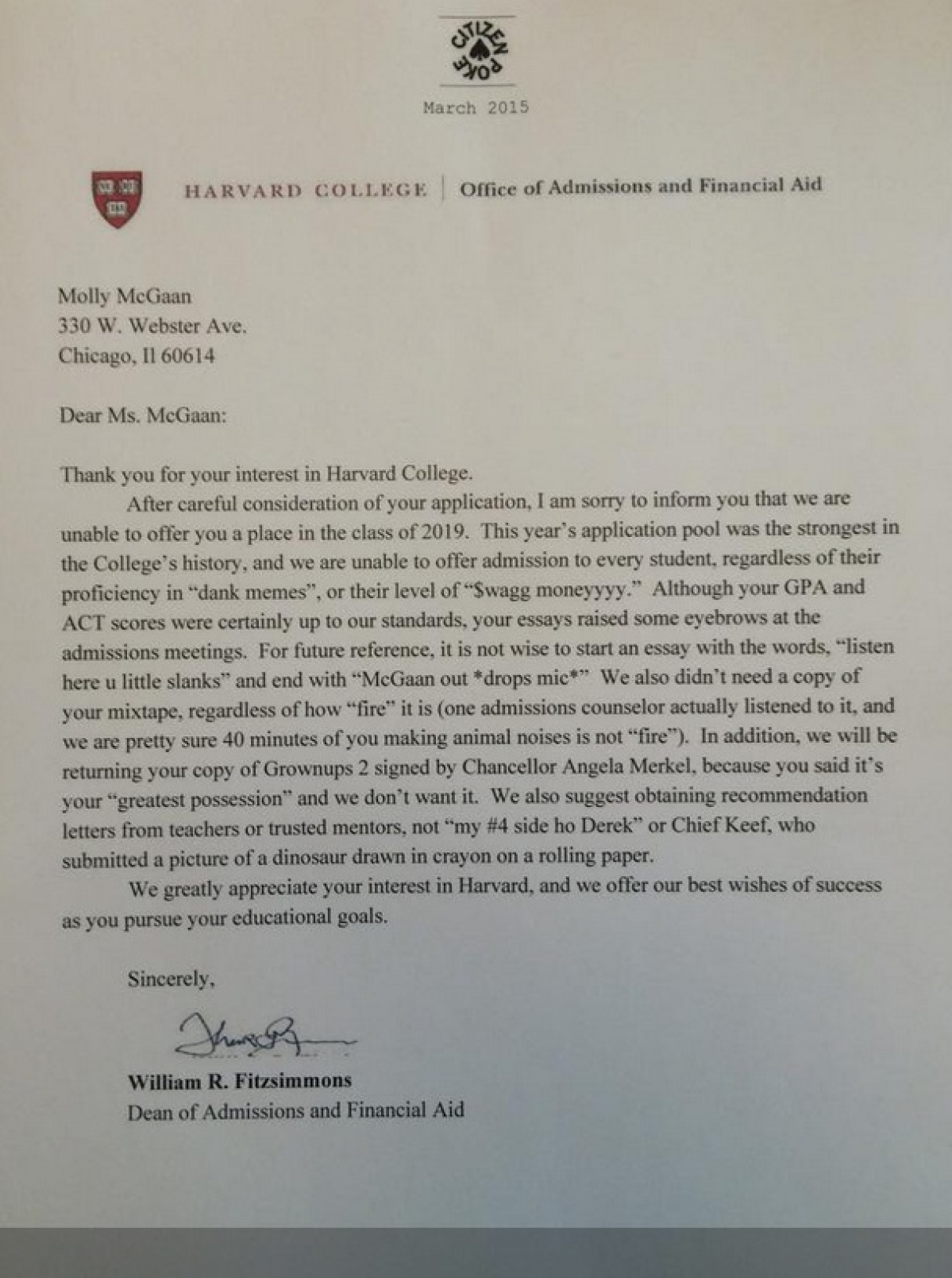 This Has Gotta be the Funniest Harvard Rejection Letter   The Quint