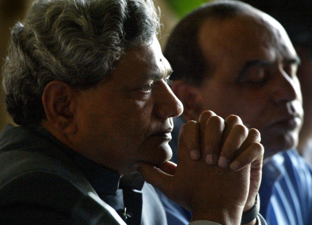Sitaram Yechury  attends a news conference. (Photo: Reuters/Gopal Chitrakar)