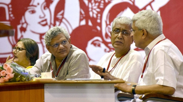CPI(M) General Secretary Sitaram Yechury with Prakash Karat (right), Manik Sarkar (center) and Brinda Karat (left) at the party's 21st National Congress. (Photo: PTI)