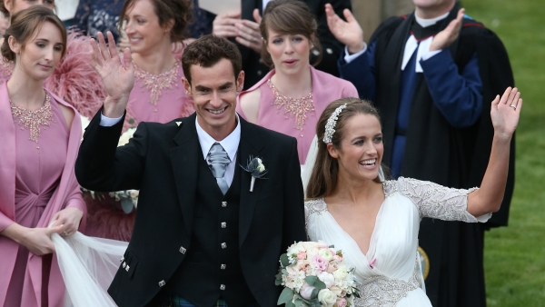 <b>Love All: </b>Andy Murray and Kim Sears leave the cathedral after their Wedding on the 11th of April in Dunblane, Scotland. (Photo: AP)
