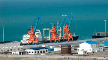 A ship at Pakistan's Gwadar deep-sea port on the Arabian Sea.