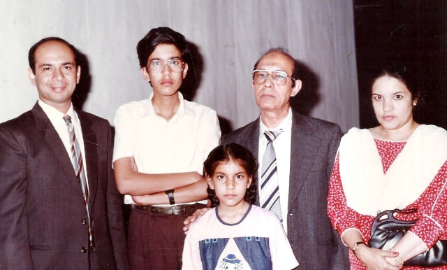 The author, at 11 years of age, with Talat Mahmood and family, at a concert in New Delhi.