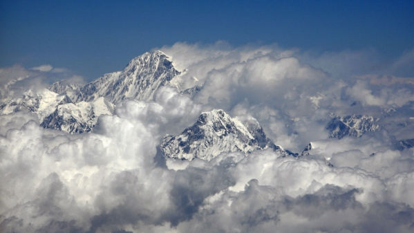 Mount Everest, the highest peak in the world with an altitude of 8.848 metres.