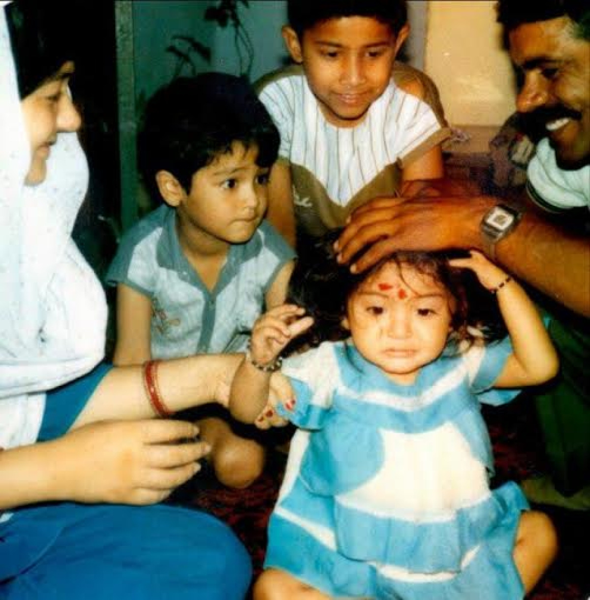 Baby Anushka with her parents