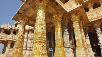 The gold-plated pillars of Somnath temple.