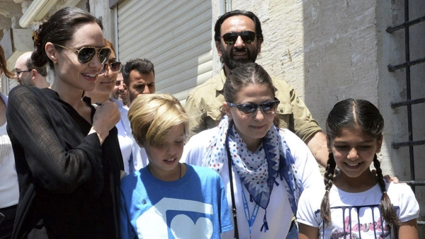 Angelina Jolie (left) and daughter Shiloh (second left) in Turkey (Photo: AP)