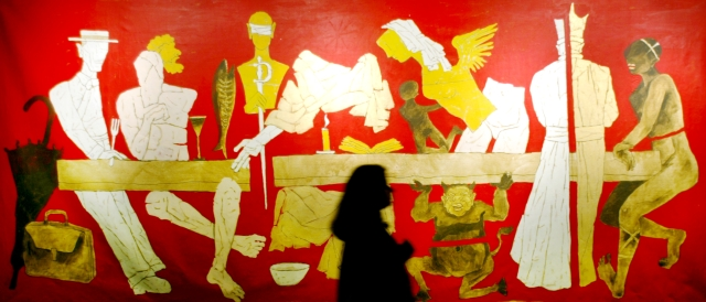 <!--StartFragment-->A visitor looks at a painting by MF Husain during an exhibition in Mumbai. (Photo: Reuters)<!--EndFragment-->