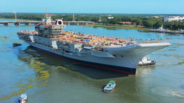 India's first indigenous aircraft carrier INS Vikrant.
